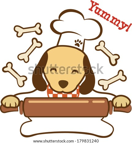 Cute dog chef with rolling pin making dog biscuits. EPS10 - stock vector