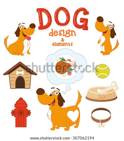 Cute Dog design with elements. Vector illustration - stock vector