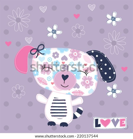 cute dog girl with flowers vector illustration - stock vector