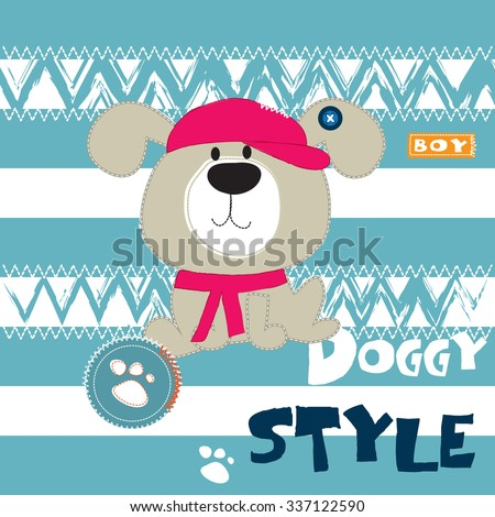 cute dog in a cap and scarf on striped background vector illustration
