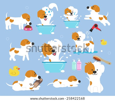 Cute dog on blue background - vector set of icons and illustrations - stock vector