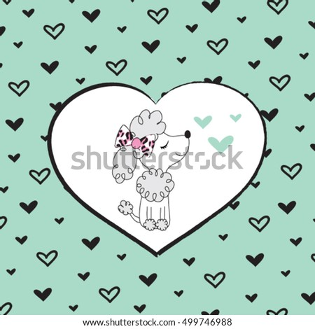 cute dog on hearts background, baby shower, invitation and greeting card, T-shirt graphics for kids vector illustration