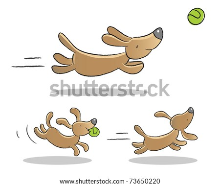cute dog playing illustrations animated - stock vector