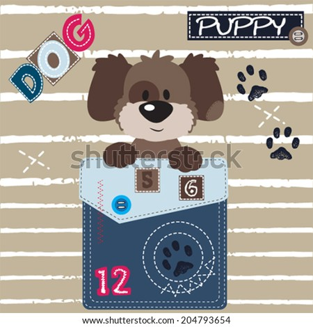 cute dog  pocket paw striped background vector illustration - stock vector