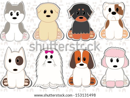 Cute dog set stickers. Different breeds of dogs. Vector - stock vector