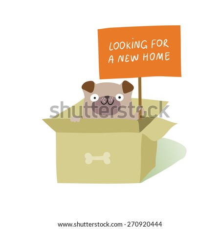 """Cute dog sitting in cardboard box and holding a placard """"Looking for a new home"""". Animal rights protection concept. Vector colorful illustration isolated on white  - stock vector"""