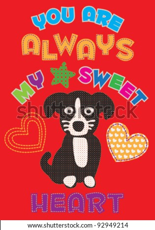 cute dog / T-shirt graphics / cute cartoon characters / cute graphics for kids / Book illustrations - stock vector