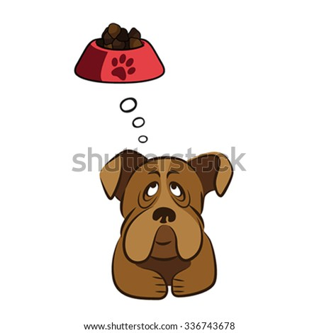 Cute dog thinking about food, vector illustration - stock vector