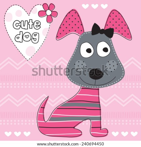 cute dog with heart vector illustration - stock vector