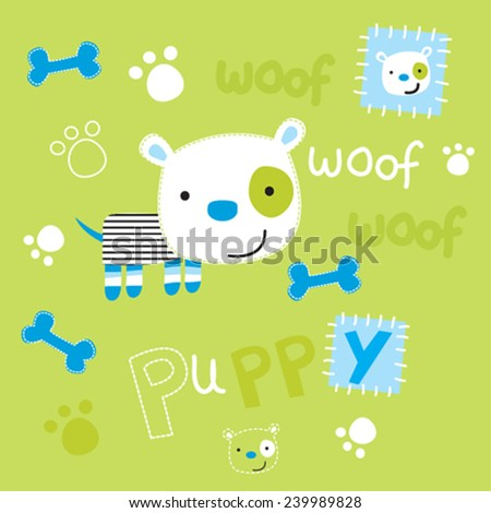 cute dog with paw and bone - stock vector