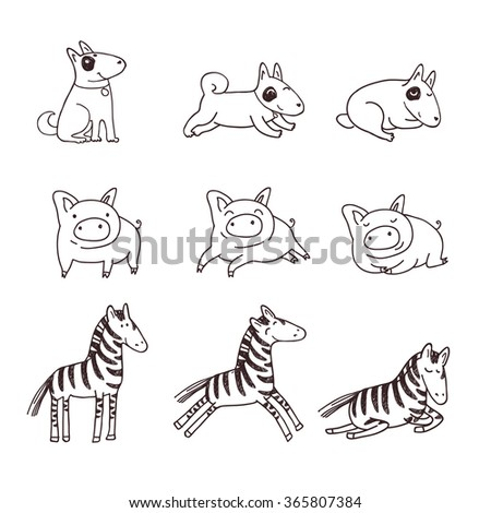 Cute doggies, pigs and zebras. Children illustration in a doodle style. - stock vector