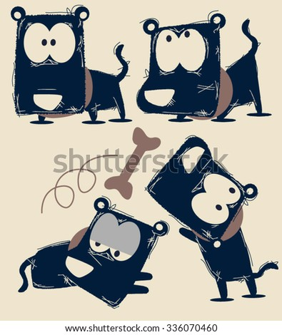cute dogs character design - stock vector