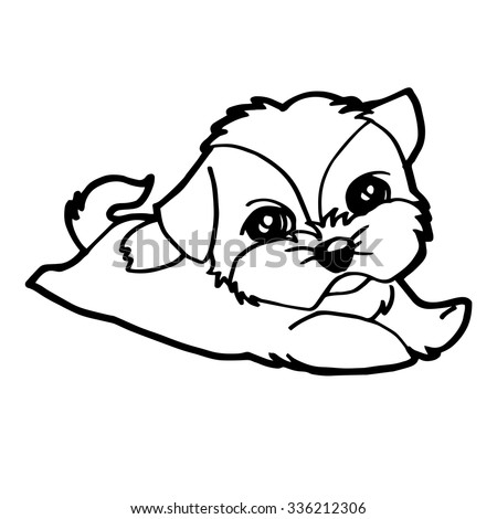 cute dogs coloring page vector