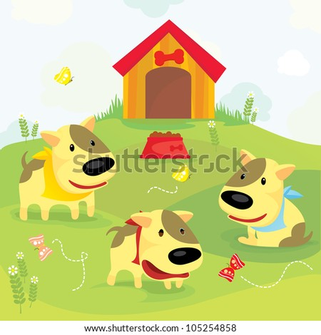 cute dogs playing in the field under blue sky - design element, vector illustration - stock vector