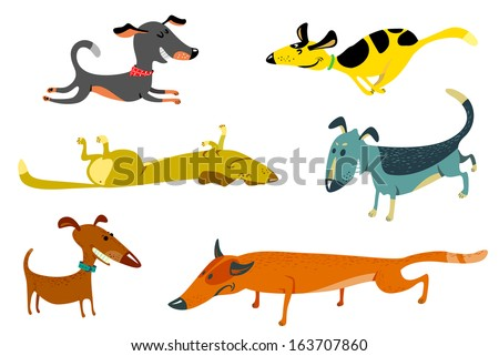 Cute dogs set - stock vector