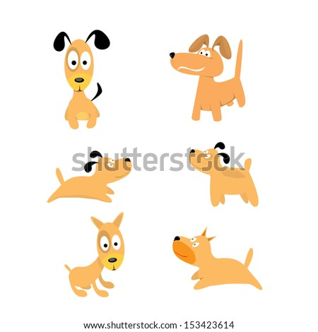 Cute dogs set. vector collection of puppies - stock vector