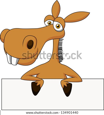 Cute donkey with blank sign - stock vector