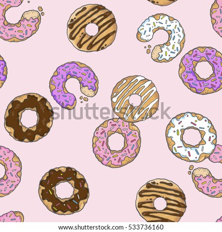 Cute Donut Wallpaper With Different Flavored Donuts On A Pink Background Vector Repeat Pattern