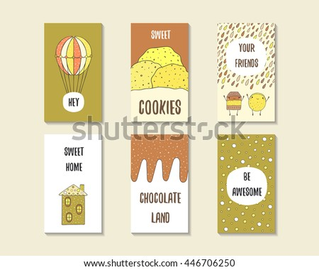Cute doodle birthday, party, baby shower cards, brochures, invitations with hot air balloon, cookie, cake, chocolate, house, polka dots. Cartoon objects, characters background. Printable templates set - stock vector