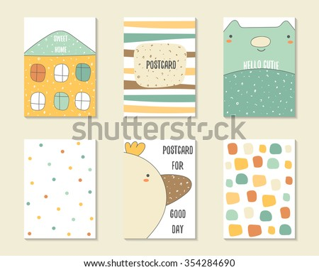 Cute doodle birthday, party, baby shower cards, brochures, invitations with house, stripes, cat, bird, dialog bubble, dots. Cartoon characters, objects background. Printable templates set - stock vector