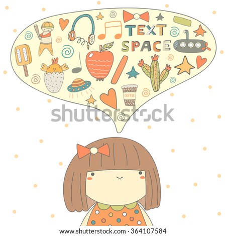 Cute doodle card, postcard with girl thinking about different things. Background with introverted girl and dialog bubble.Objects set including ice cream, apple, bird, boy, cactus, submarine, earphones - stock vector