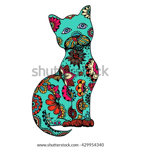 Cute doodle cat. Vector hand drawn cat with doodle ornament. Spring cat design for kids. Isolated. - stock vector