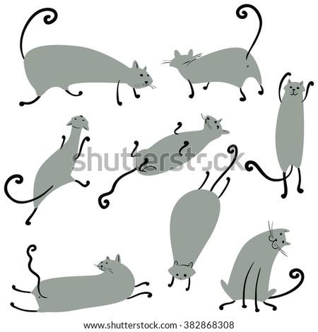 Cute doodle cats set, vector minimalistic illustration - stock vector