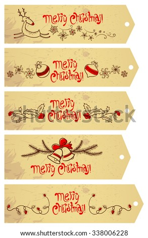 Cute doodle Christmas tags set - stock vector