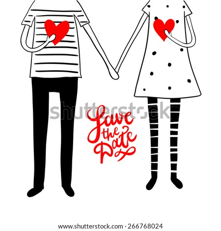 """Cute doodle couple with hearts and hand lettering """"save the date"""" - stock vector"""
