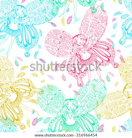 Cute doodle fairy elf pattern, seamless colorful fairy girl cartoon, Bright cartoon card with Fairy - stock vector