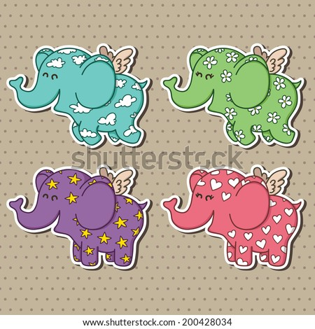 Cute doodle flying elephants collection.Vector illustration of adorable cartoon elephant baby stickers for baby shower - stock vector