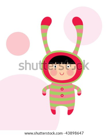cute doodle greeting - stock vector