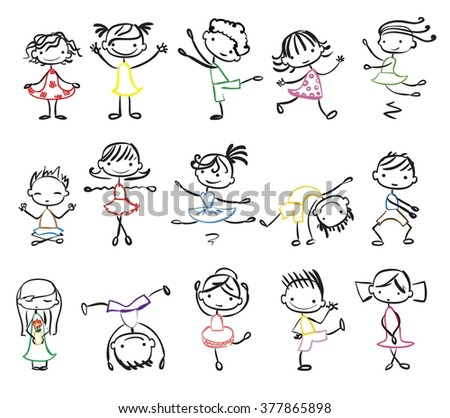 Cute doodle happy cartoon kids - stock vector