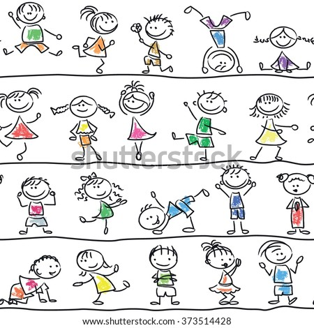 Cute doodle happy cartoon kids seamless pattern - stock vector