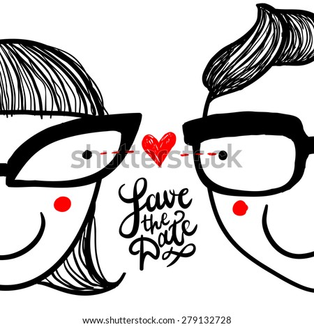 "Cute doodle ""in love"" couple in eyeglasses and hand lettering ""save the date"""