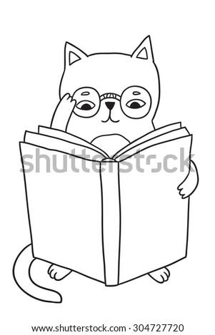 cute doodle kitty cat reading a book in glasses. adorable animal clip art. education vector illustration. back to school image. - stock vector