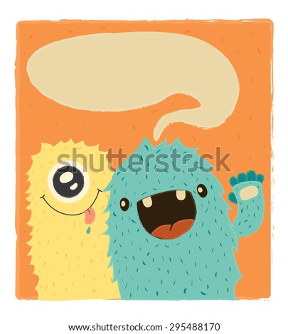 Cute doodle monster greeteng or invitation card with place for your text. Funny colorful monster happy birthday card. vector illustration. flat colors - stock vector