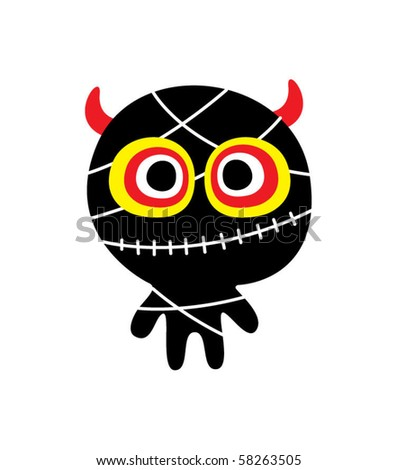 cute doodle monster toy - stock vector