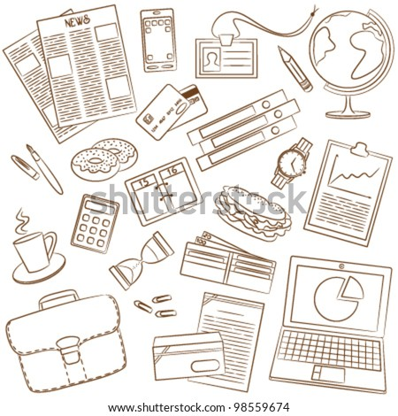 Cute doodle on the business theme - stock vector