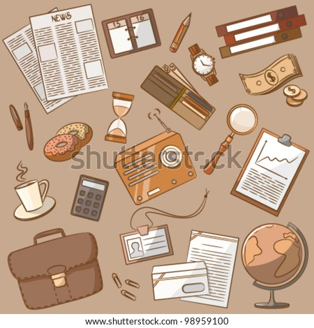 Cute doodle on the business theme vintage style - stock vector