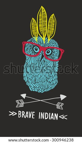 Cute doodle owl with feathers and arrows. Vector illustration. - stock vector