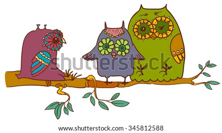 Cute doodle owls on the branch - stock vector