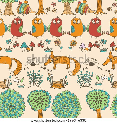 Cute doodle pattern with fox, bird and hedgehog in forest. Seamless pattern. Funny animals childish design.