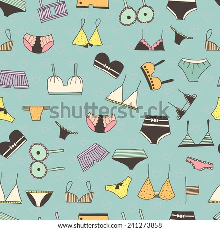 Cute Doodle Seamless Pattern Of Female Underwear. Fashion Lingerie Background Design. - stock vector