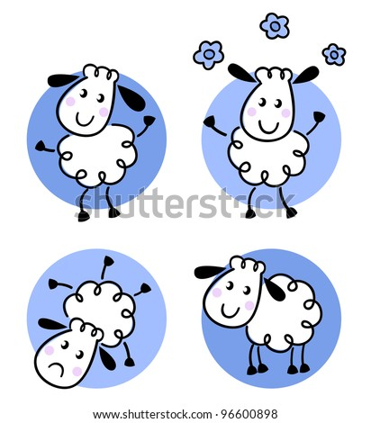 Cute doodle sheep collection isolated on white - stock vector