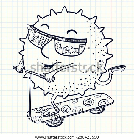 Cute doodle sun character on the scooter - stock vector