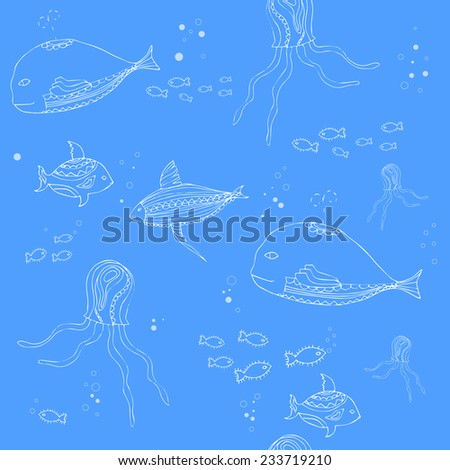 Cute doodle whales  Seamless pattern with fish, whale and octopus.  Sea life vector illustration. - stock vector