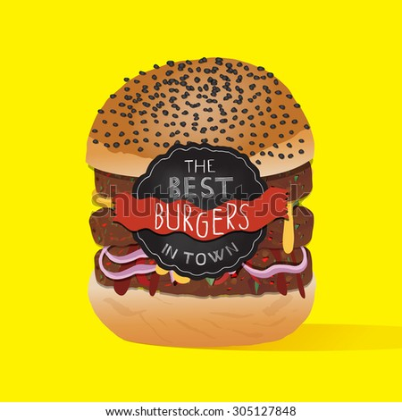 Cute double cheeseburger on neon background. Eps file. - stock vector