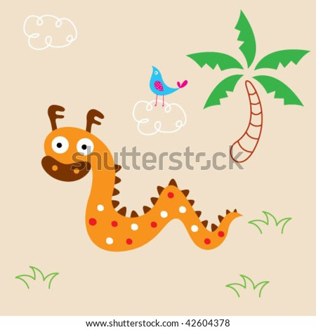 cute dragon greeting card - stock vector