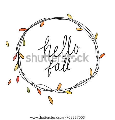 Cute Draw Vector Illustration Beauty Leave Wreath In Autumn Seasonwording Hello FallDoodle